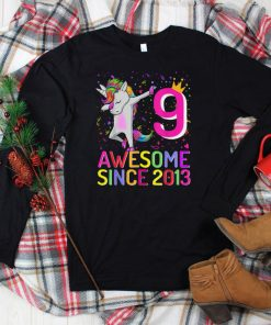 Official 9 Years Old Unicorn Dabbing 9th Birthday Girl Unicorn Party T Shirt 3