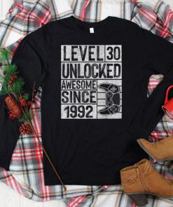 Official Level 30 Unlocked Awesome Since 1992 Vintage 30th Birthday T Shirt